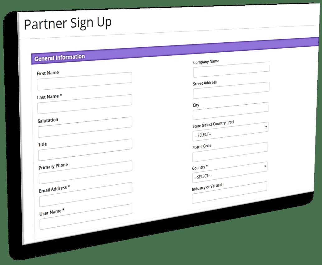 Channel partner signup dashboard