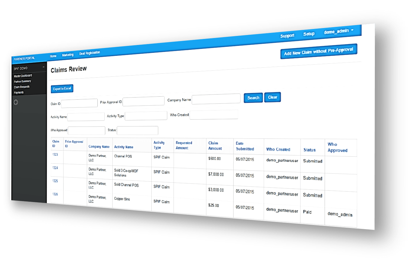 SPIFF management software dashboard